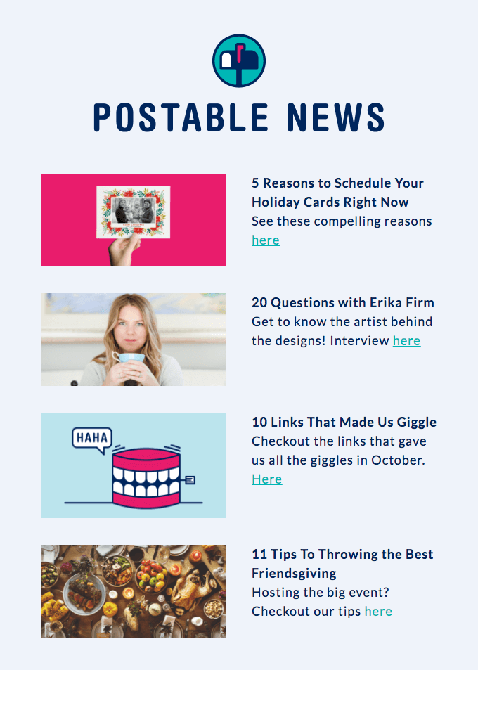 Postable News email template example