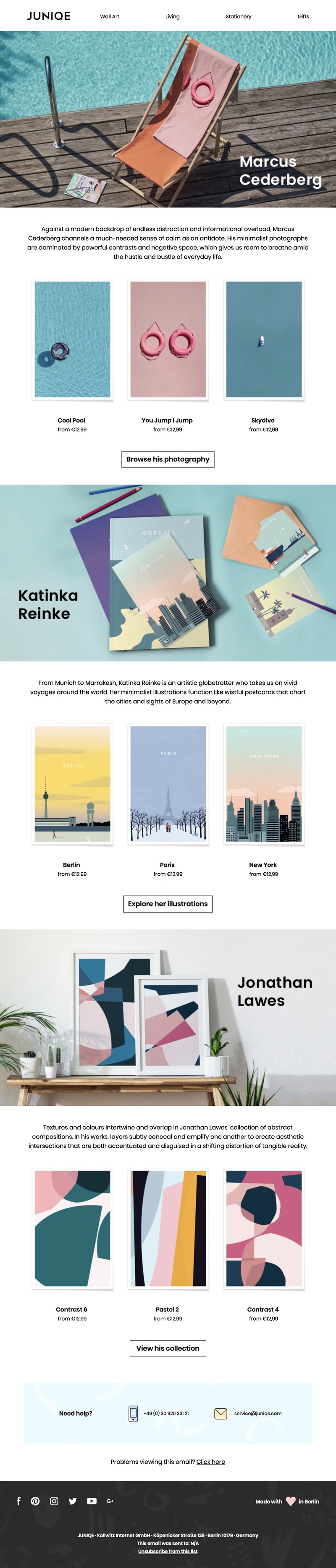 Modular email template example of the Junique Artist Showcase newsletter